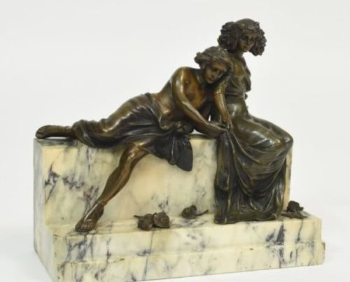 Signed Carl Kauba bronze and marble sculpture