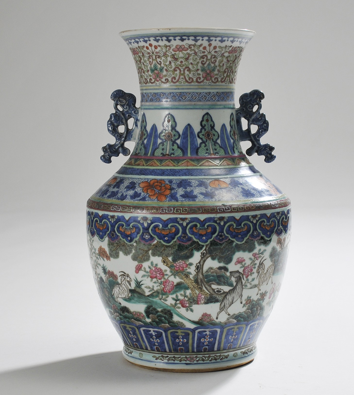 Porcelain Vase Blue Under Glaze And Famille Verte
